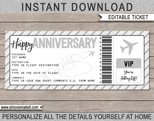 anniversary gift boarding pass ticket example