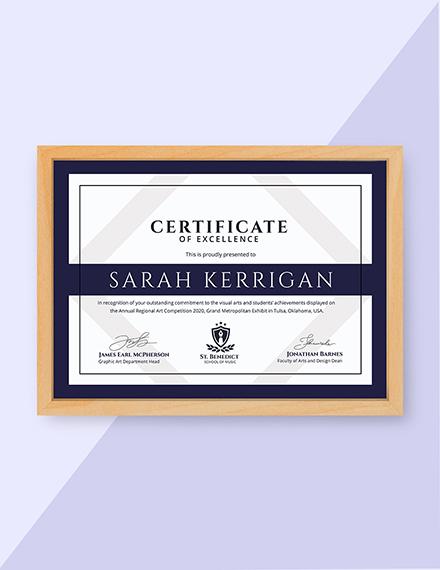 art achievement certificate design