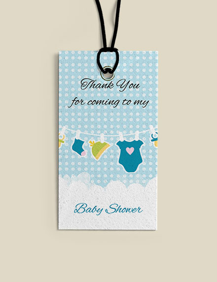 baby shower thank you tag mock up