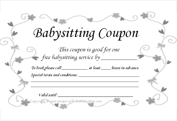 babysitting coupon template example