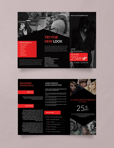 barbershop a3 tri fold advertising brochure