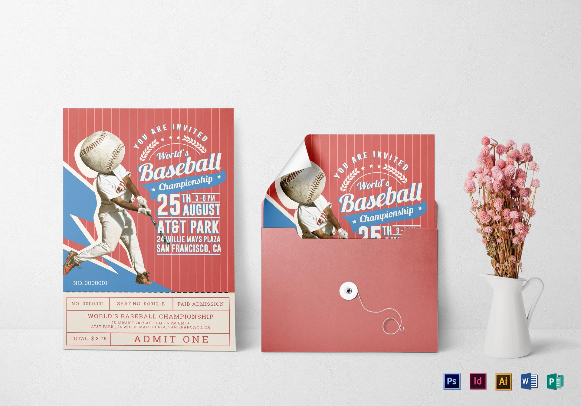 baseball ticket invitation card2