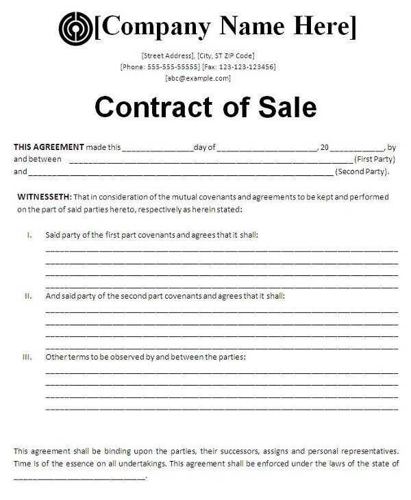 basic for sale by owner contract template example1