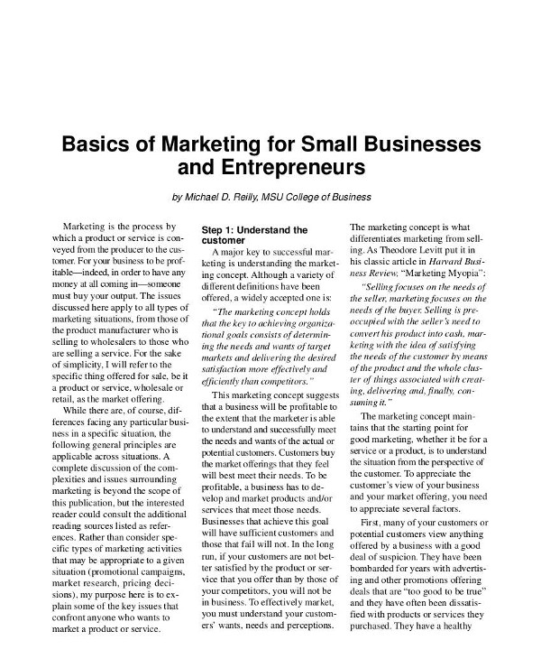 basics of marketing for small businesses and entrepreneurs1