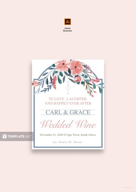 beach wedding wine label template