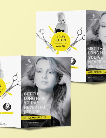 beauty parlor a3 bifold brochure template