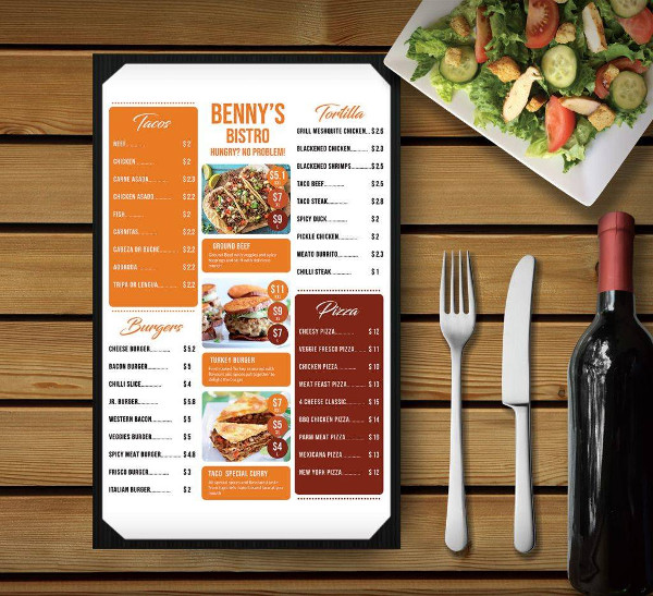 bistro menu card design example1