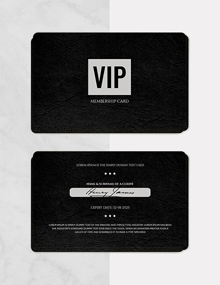 Black Membership Card Template