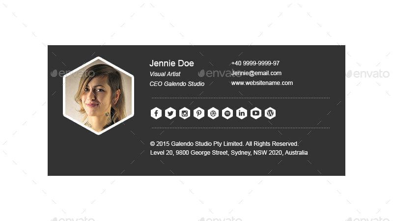 black minimalist email signature example