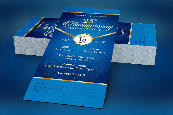blue anniversary banquet ticket example