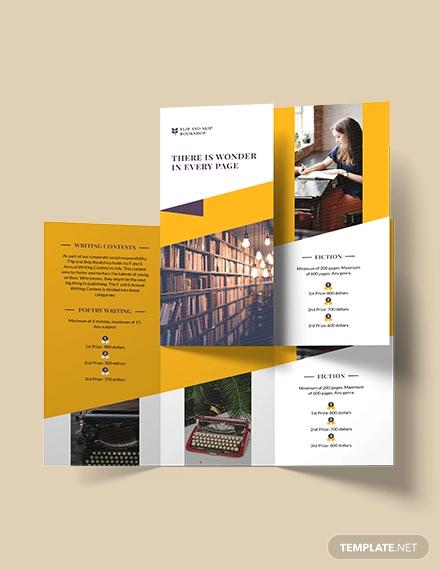 book store tri fold brochure template