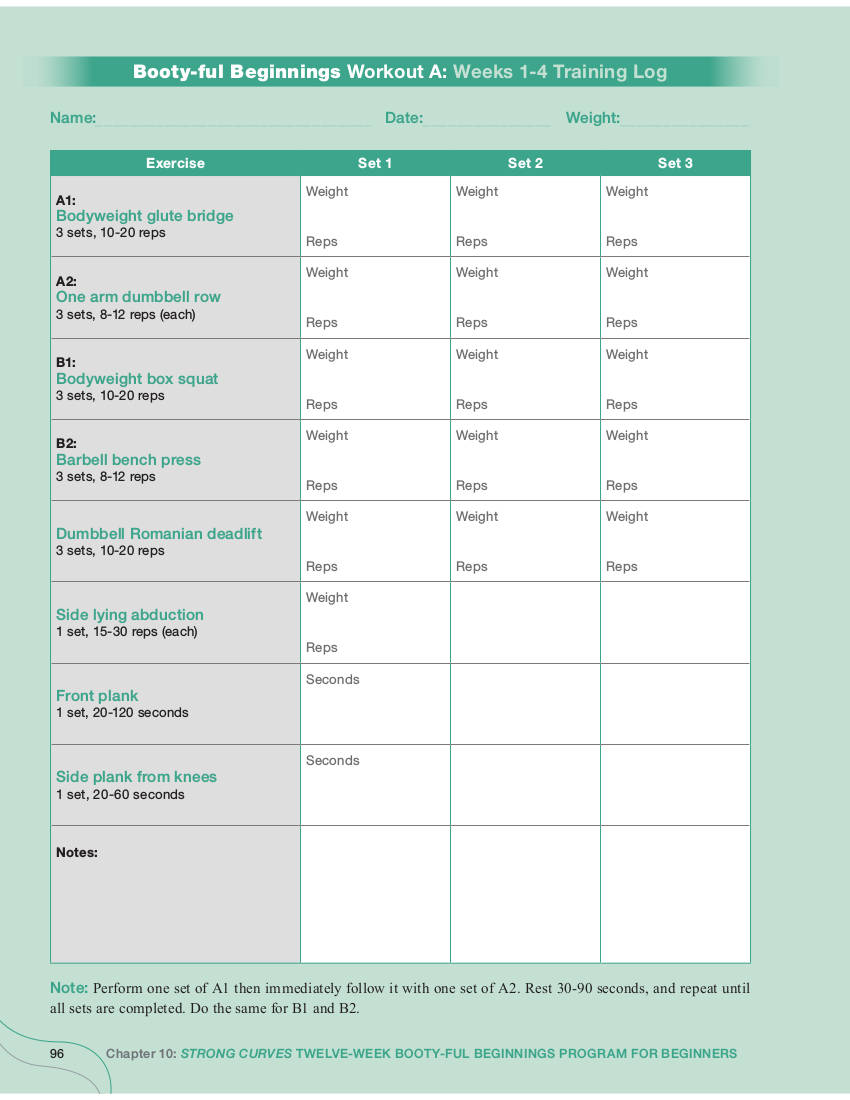 booty ful beginnings workout planner example