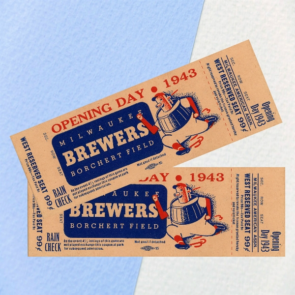borchert field 1945 opening day event ticket