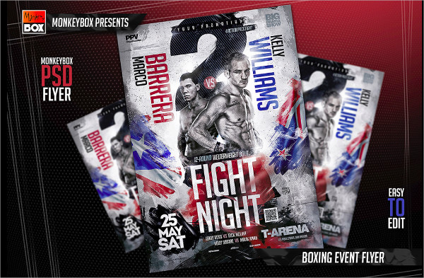 boxing event flyer design