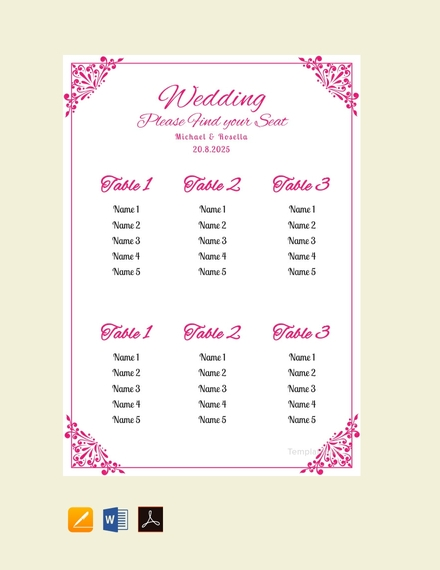 bridal shower wedding seating chart