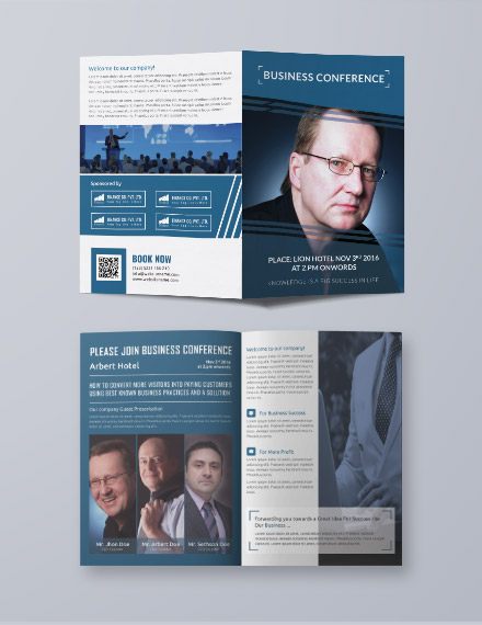 business conference a3 bifold brochure