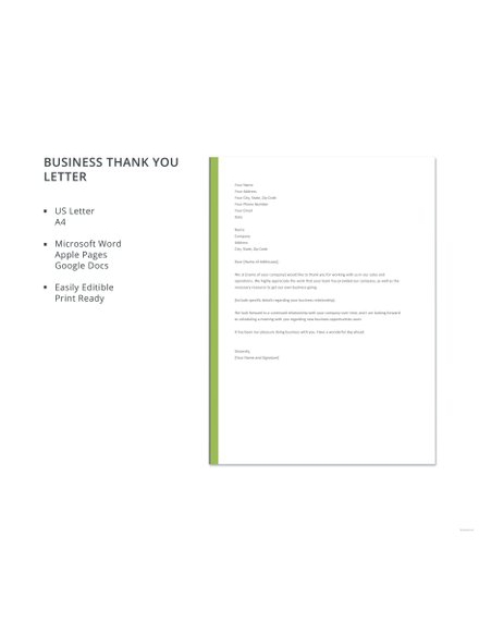 microsoft word thank you letter template