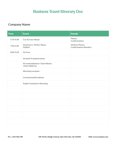 business travel itinerary document