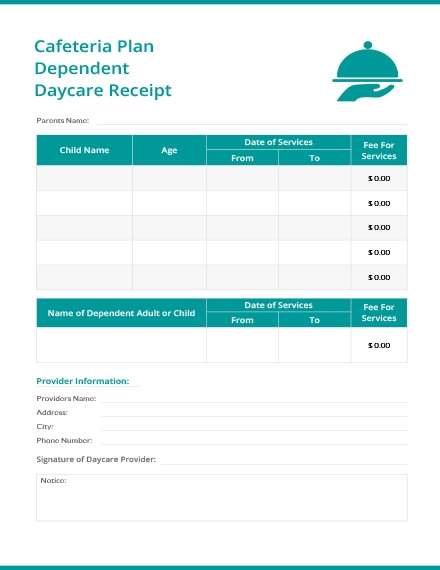 cafeteria plan dependent daycare receipt template