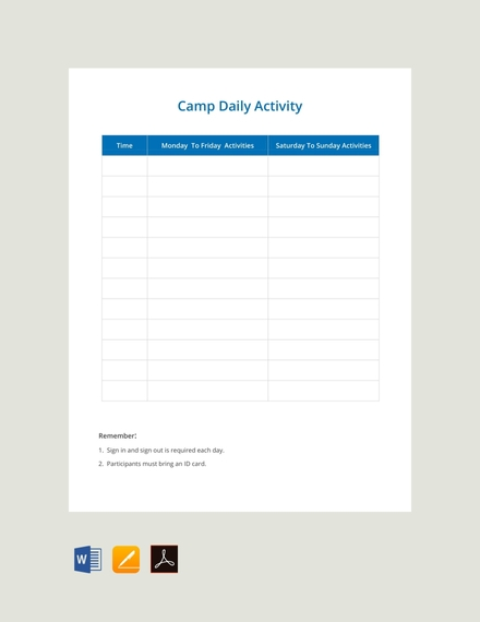 camp daily schedule