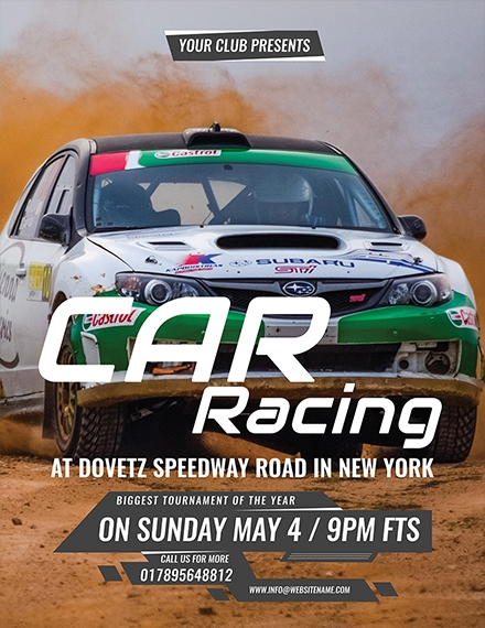 car racing flyer sample