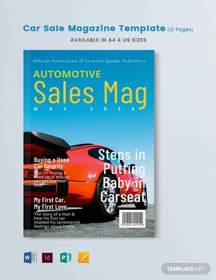 car sale magazine template