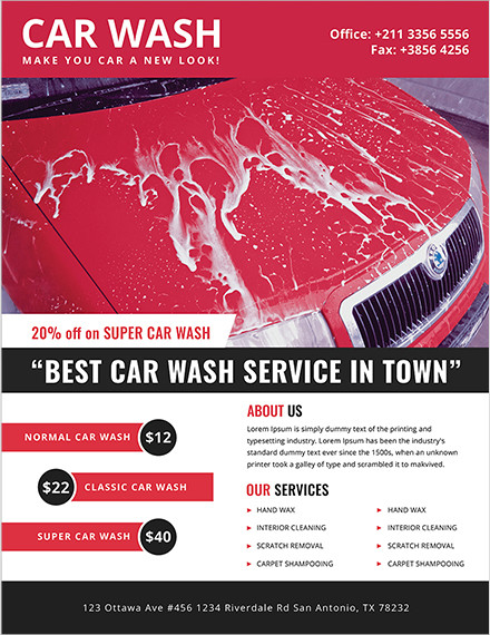 car wash advertising flyers