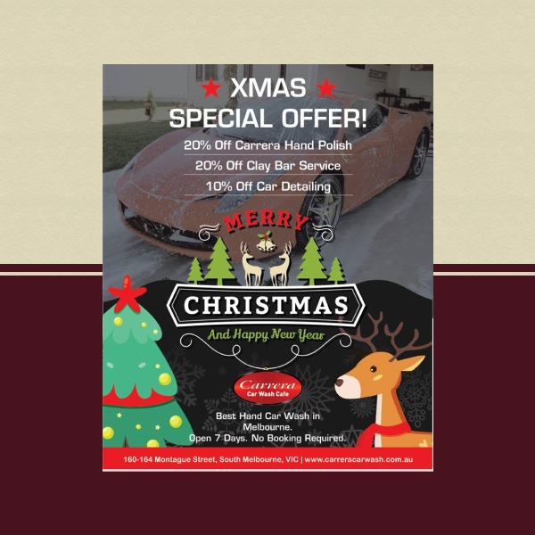 car wash cafe christmas flyer