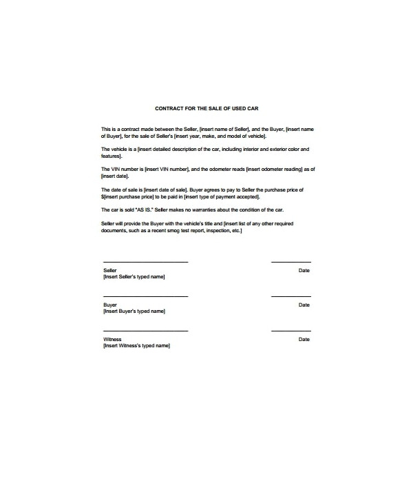 car for sale by owner contract template example1