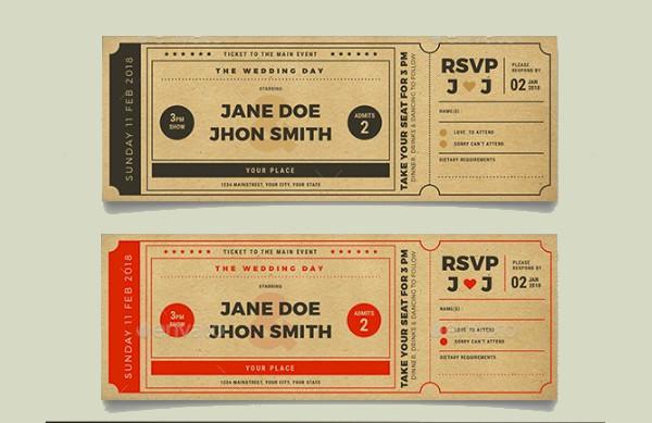 cardboard wedding cinema ticket example1