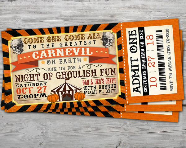carnevil halloween invitation ticket example