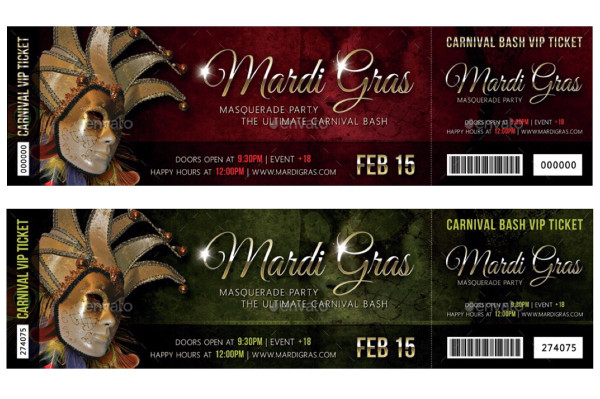 carnival mardi gras invitation ticket example
