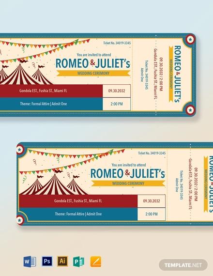 carnival wedding ticket