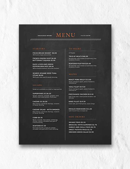 chalkboard menu design template