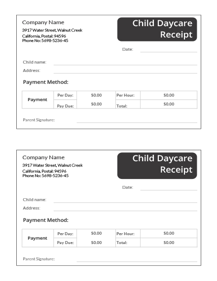child daycare receipt template