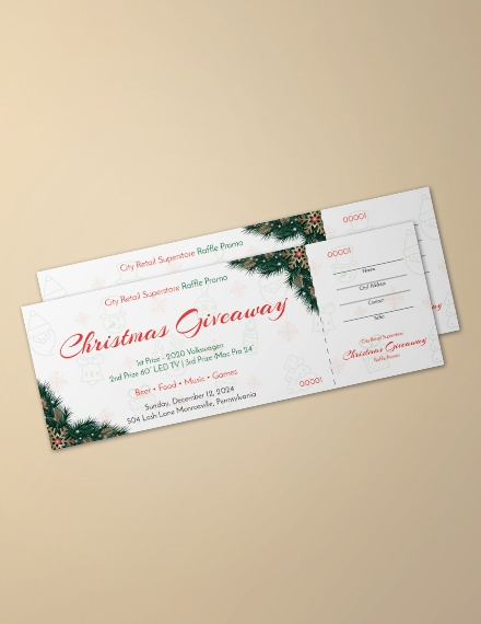 christmas raffle promo ticket