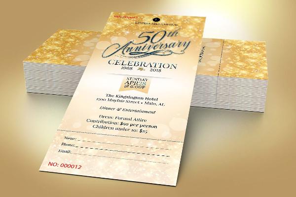 church golden anniversary ticket example