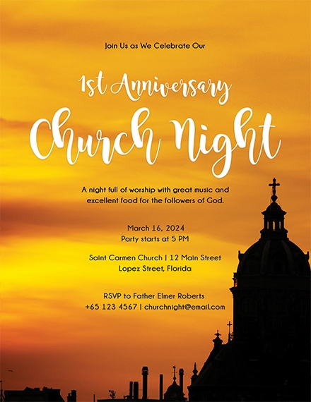 church invitation flyer template example