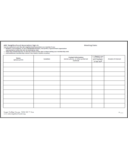 clean sign in sheet template
