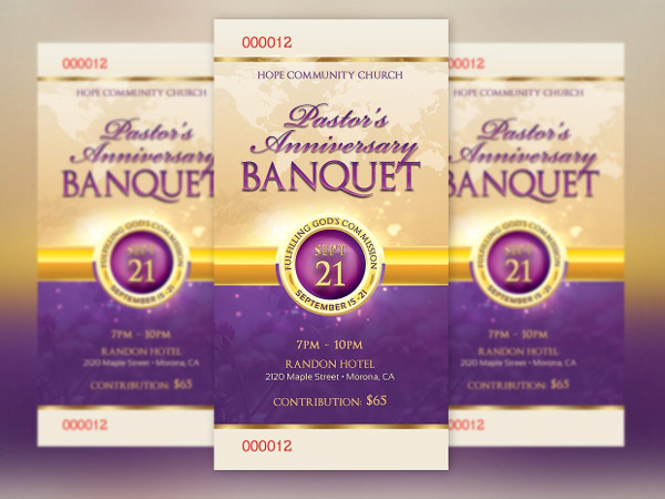 clergy anniversary banquet ticket example
