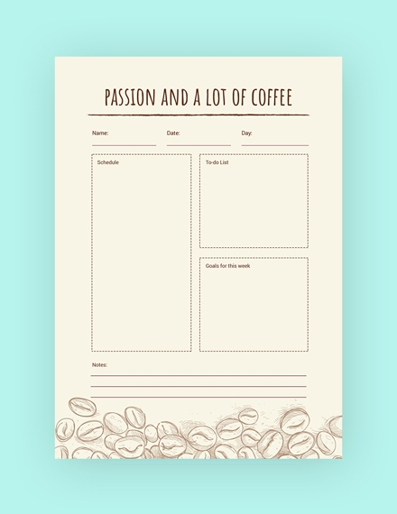 coffee and passion themed journal