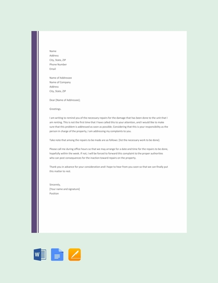 complaint letter to landlord about repair