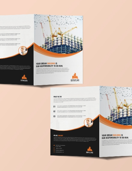 construction company bi fold brochure template