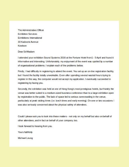 consumer complaint letter