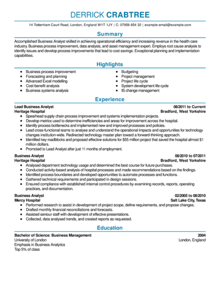 corporate business analyst resume