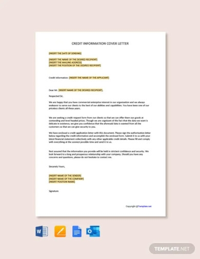 credit information cover letter template