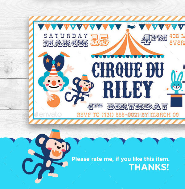 cute circus birthday invitation ticket example