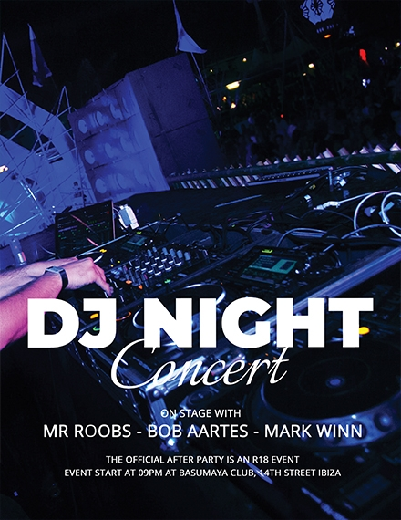 dj night concert flyer