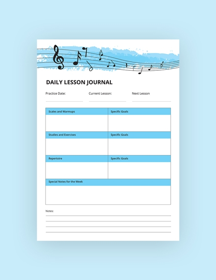 daily music lesson journal
