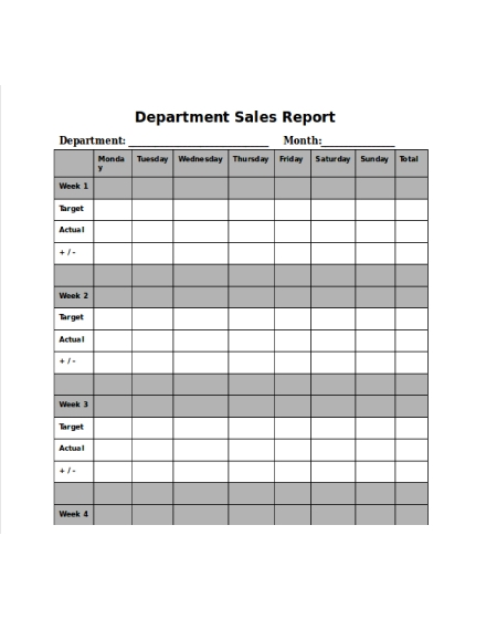 department daily sales report